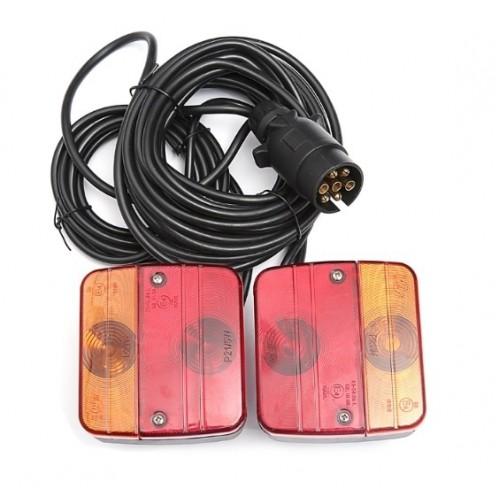 SHOPBATTERY Σετ Φανάρι πορείας 4 Λειτουργίες με Μαγνήτη και Καλώδιο 12V 24V