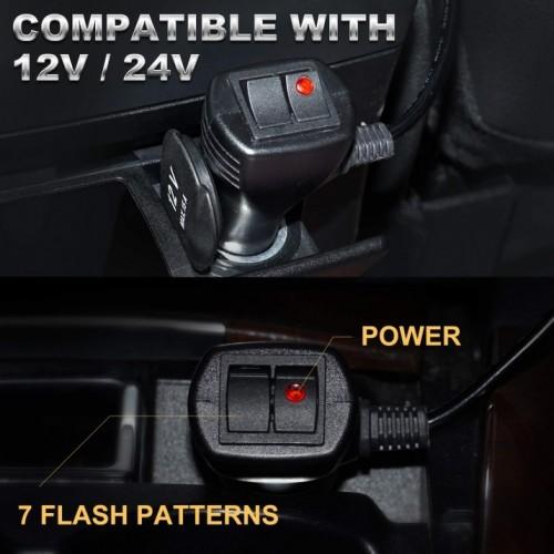 LED Φάρος Πορτοκαλί 12V και 24V Με Μαγνήτη 48 LED