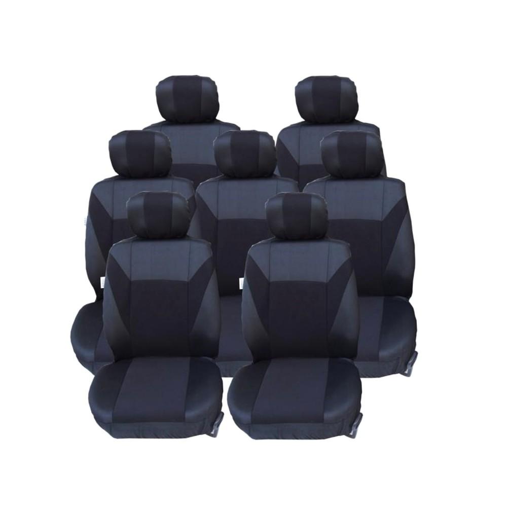 Σετ Καλύμματα Αυτοκινήτου Πολυεστερικό 21 Τεμαχίων σε Μαύρο Γκρί για VW TOURAN-SHARAN-FORD GALAXY-CITROEN C8-C4 GRAND PICASSO-PEUGEOT 307SW 806 807