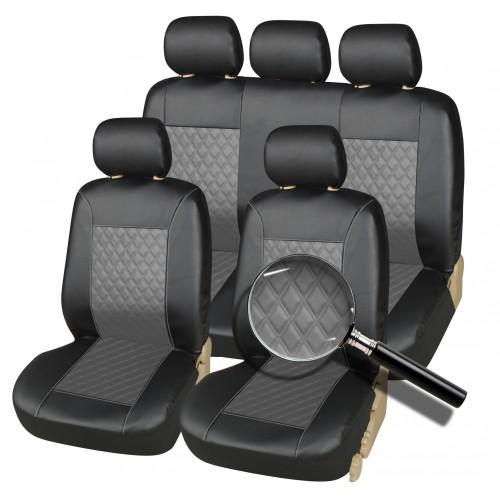 SHOPBATTERY Σετ Καλύμματα Αυτοκινήτου Δερματίνη Eco Leather σε Μαύρο και Γκρί